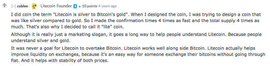 A Comment by Charlie Lee Regarding Litecoin vs Bitcoin