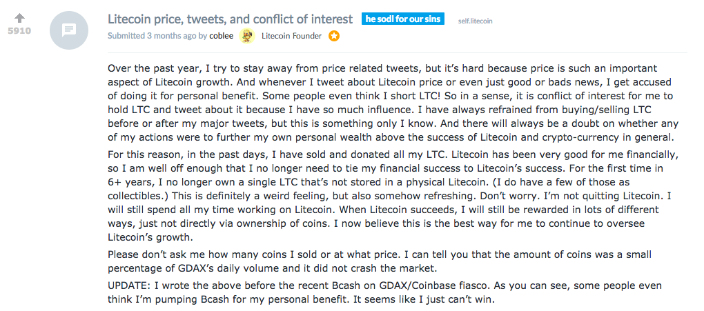 Charlie Lee Responds on Reddit