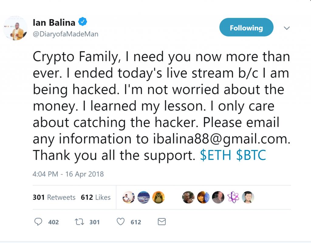 Ian Balina Tweets Attack