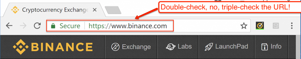 Binance official URL not scam