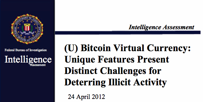 The front page of the FBI's Intelligent Assessment of Bitcoin