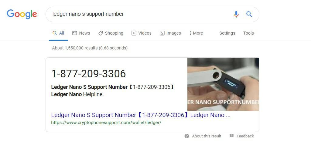 Warning: Fake Ledger and MEW Customer Support Phone Numbers