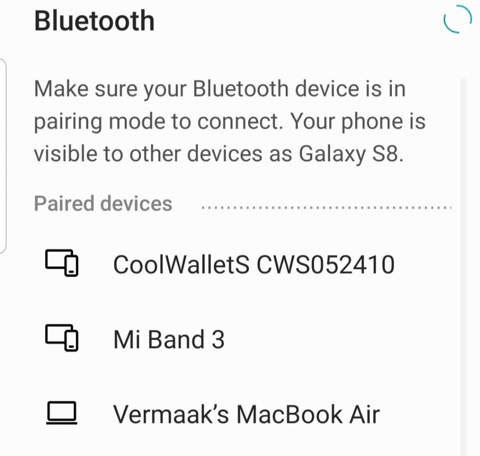 coolwallet bluetooth connection